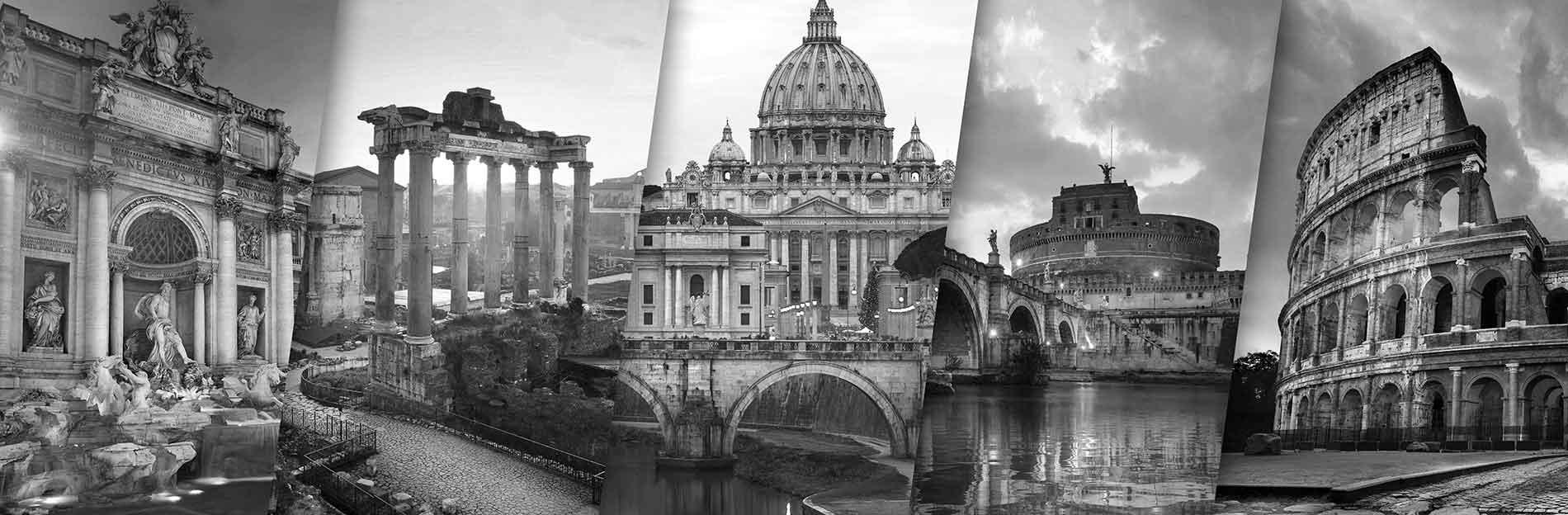 Bildekollasje av Italia i svart/hvitt